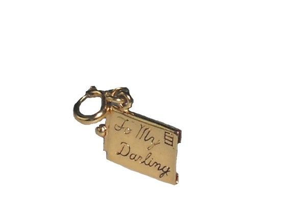 """Vintage Monet Charm  Love Letter Gold Tone - Envelope w/ Pull Out Letter Addressed """"To My Darling"""""""