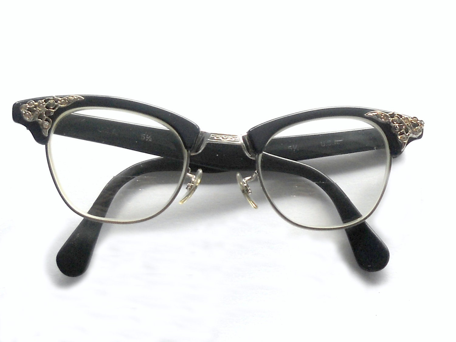 Retro Eyeglass Frames Portland Oregon : Vintage 1950s Eyeglasses Dark Blue and 12 K by ...