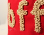 """Canvas Tote....""""BFF"""" Petite Red tote bag with PERSONALIZED leather label"""