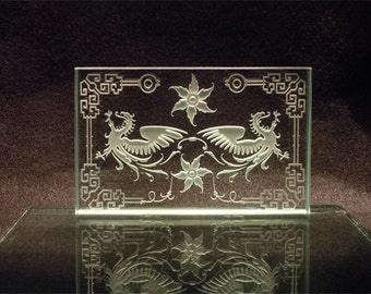 Dragons with Chinese Border and Lotus Flower - Sand Etched Glass Paperweight