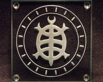 Japanese Turtle Symbol - Etched Glass Art - Coffee Table Coaster Design