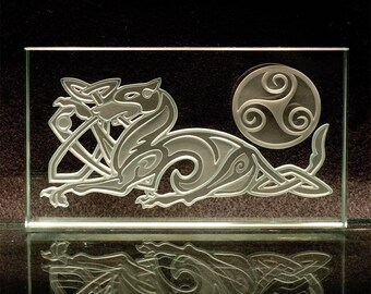 Celtic Dog Etched Glass Art - Sandblasted Paperweight with Knotwork and Spiral