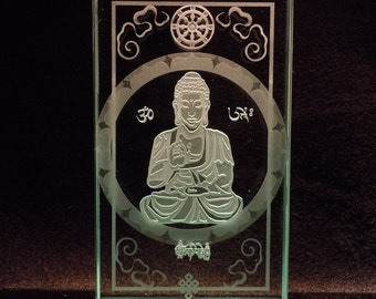 Tibetan Buddha - Etched Glass Art Paperweight Tabletop Display - Symbols and Script