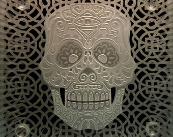 Day of the Dead Sugar Skull - Etched Carved Art Glass Coaster - Dia de los Muertos - Decorative 3D Sandblasted Coffee Tabletop Home Decor