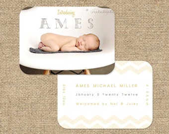 "INSTANT DOWNLOAD Custom Photo Luxe Die Cut Birth Announcement Template ""Ames"""