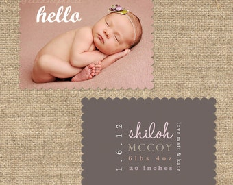 "INSTANT DOWNLOAD Custom Photo Luxe Die Cut Birth Announcement Template ""SHILOH"""