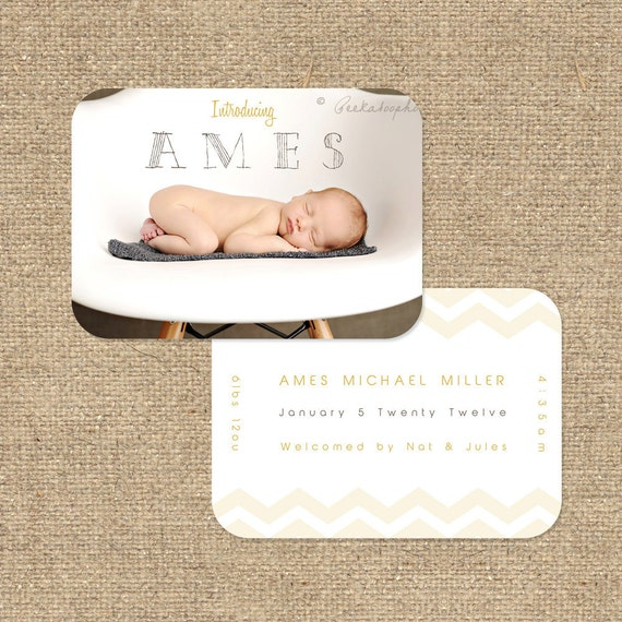 """INSTANT DOWNLOAD Custom Photo Luxe Die Cut Birth Announcement Template """"Ames"""""""