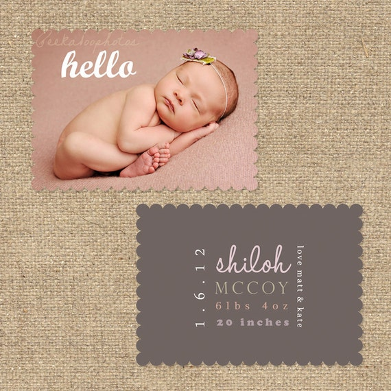 """INSTANT DOWNLOAD Custom Photo Luxe Die Cut Birth Announcement Template """"SHILOH"""""""