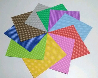 Dotted Pattern & Plain Colors Origami Paper - Double Sided Papers - 20 Sheets