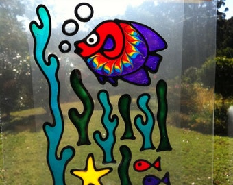 Fish and seaweed set Suncatcher window sticker/decal stained glass style Sunshiner
