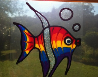Rainbow Angel Fish Suncatcher window sticker/decal stained glass style Sunshiner