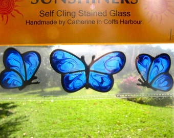 turquoise blue butterfly set Suncatcher window sticker/decal stained glass style Sunshiner