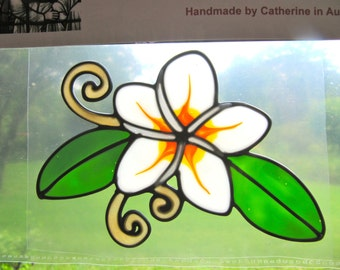 Frangipani flower Suncatcher window sticker/decal stained glass style Sunshiner
