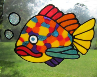 spotty fish Suncatcher window sticker/decal stained glass style Sunshiner