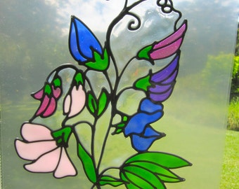 sweet pea Suncatcher window sticker/decal stained glass style Sunshiner