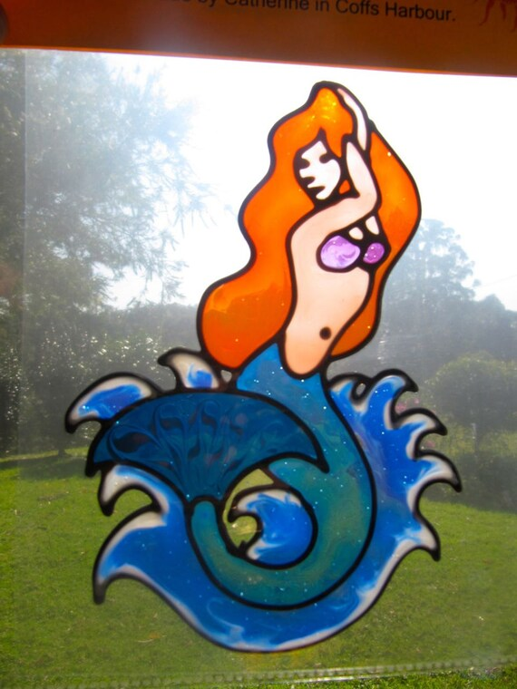 mermaid red hair Suncatcher window sticker/decal stained glass style Sunshiner