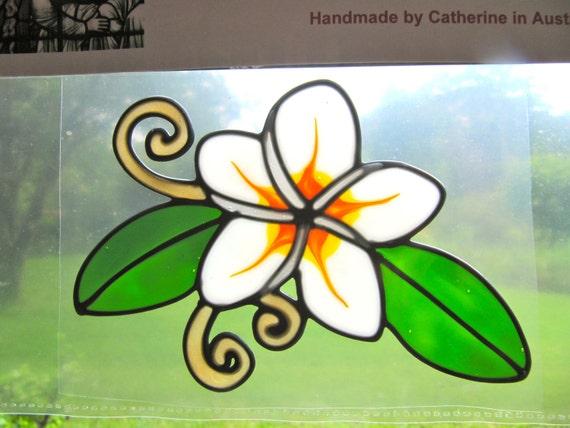 Frangipani flower Suncatcher window sticker/decal stained glass style Sunshiner