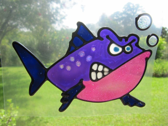 angry fish Suncatcher window sticker/decal stained glass style Sunshiner