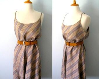 Vintage 80s greyish blue taupe checked dress - lumberjack-like - size 14