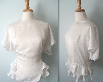 Vintage 80s crisp white satin taffeta frilly - frills - top - ties at the back - Medium-Large