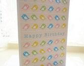Personalised Bird Pattern Birthday Card