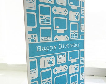Personalised Technology Pattern Birthday Card