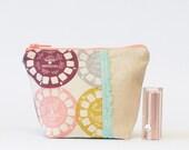 Small Makeup Bag Zipper Pouch in View Master Linen
