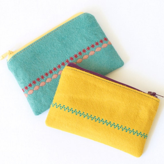 Coin Purse Yellow Embroidered Wool Felt