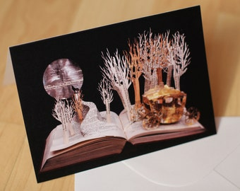 Golden Carriage greeting card of an original Book Sculpture