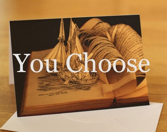 Pack of 6 book sculpture greetings cards, you choose the cards