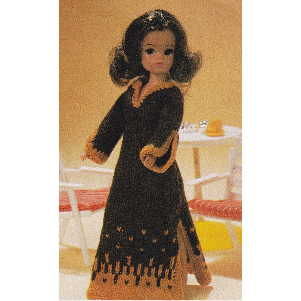 Simple Knitting Patterns For Scarves : Vintage Sindy Doll Knitting Pattern Kaftan Dress 12 Inch Dolls