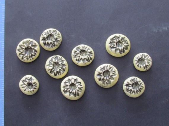 10 pc set of Light Yellow Embossed Marbles - Ceramic Mosaic Tiles