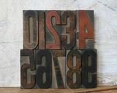 0-9 Number Set, Vintage Letterpress Wood Print Blocks, for display or printing