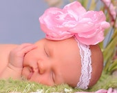 Pink Peony on a stretch lace headband - Perfect photo prop or spring accessory