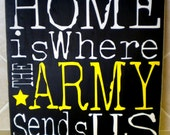 Home is where the Army sends us - Hand painted word art sign