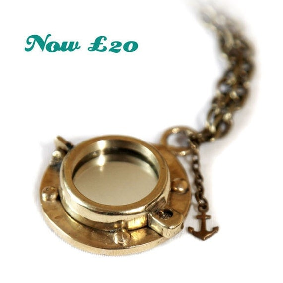Steampunk Pendant - King Neptune's Looking Glass Heavy Brass Porthole Necklace - SALE - WAS 34 - NOW 20
