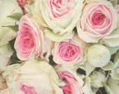 Shabby Chic Roses - 8x10 Photo - Bouquet, Floral, Pink, Green, Wedding Art, Romantic, Bloom, Gift for Wife, Bride, Love, French Theme
