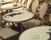 Le Chat Noir Photo - Cafe - 8x10 Print - Sepia, Brown, Tan, Black - Cat, French - Paris, France - Chairs - Wine, Romantic