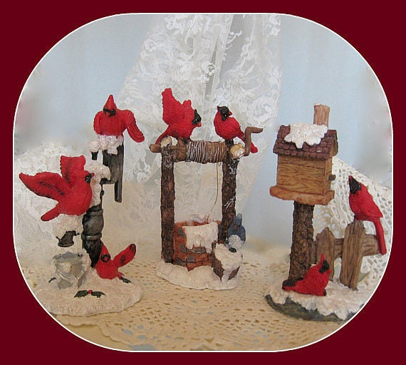 Items Similar To Vintage Cardinal Bird Figurines Red Bird