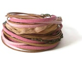 pink wrap bracelet, suede, natural leather, silk ribbon, antique brass chain, boho, triple wrap - jcudesigns