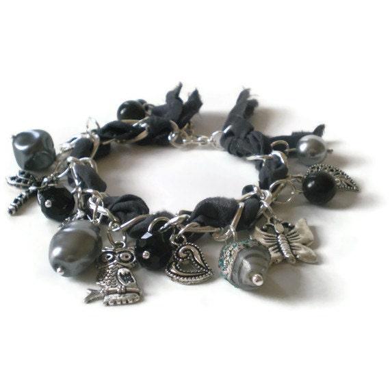 grey charm bracelet, silk ribbon, silver chain, charms, boho, vintage style