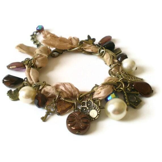 beaded charm bracelet, boho chic, antique brass, ribbon, vintage inspired, cluster style