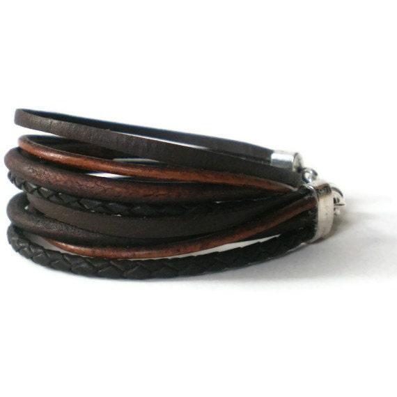 brown leather wrap bracelet, boho bracelet, unisex bracelet, male bracelet, double wrap bracelet