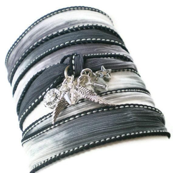 silk ribbon wrap bracelet, silver charms, boho wrist wrap, grey, swarovski crystals, yoga inspired