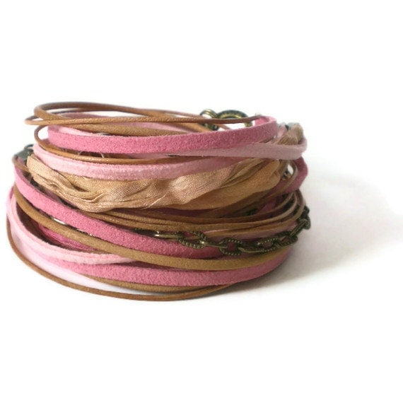 pink wrap bracelet, faux suede natural leather wrap bracelet, silk ribbon bracelet, bohemian wrap bracelet, triple wrap, gift for her