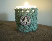Knitted Candle Holder Cover - Green Peace