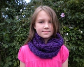 Girls Knitted Cowl - Fuzzy Purple
