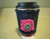 Knitted Coffee Cup Cozy - Blue & Pink, Be The Change w/Butterfly