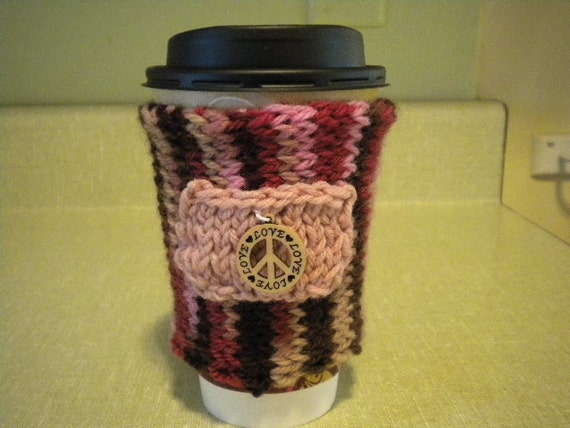Knitted Coffee Cup Cozy - Pinky Love