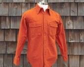 Vintage Burnt Orange Chamois Work Shirt, Size Medium